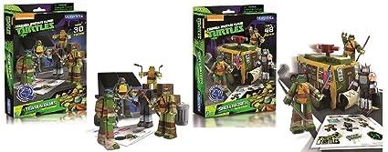 Teenage Mutant Ninja Turtles TMNT Team Ninjas 30 pc Papercraft and TMNT Shell Raiser 48 pcs Vehicle Pack Combo Set