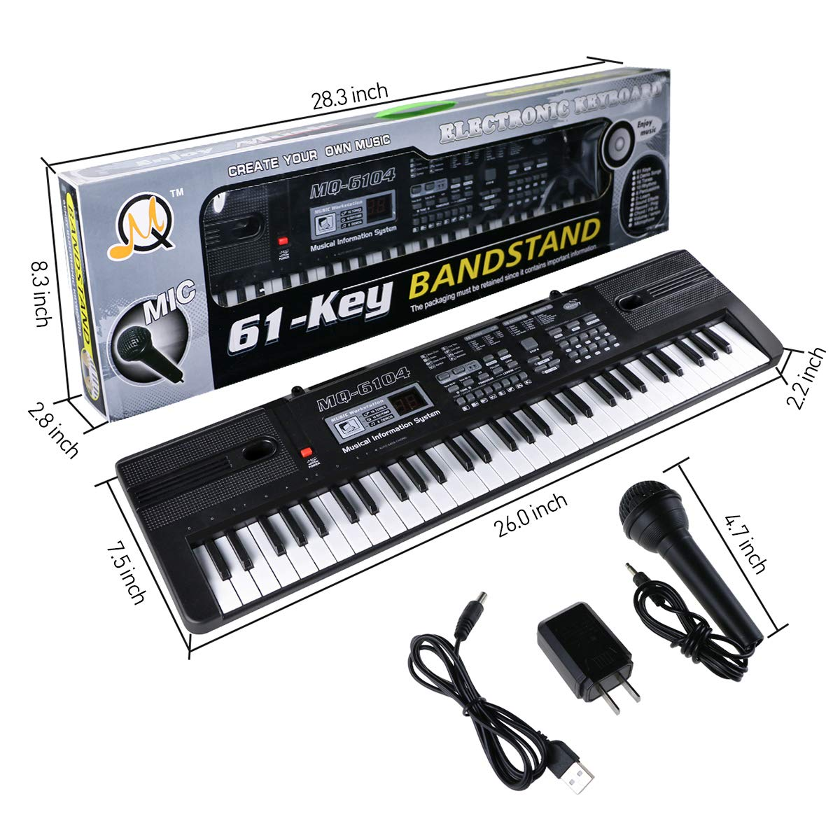 Digital Music Piano Keyboard 61 Key - Portable Electronic Musical Instrument with Microphone Kids Piano Musical Teaching Keyboard Toy For Birthday Christmas Festival Gift by Tencoz (Image #2)
