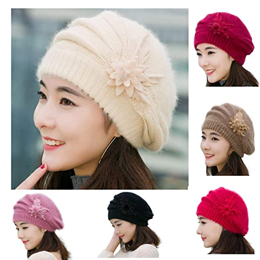 d5524e3049b BSGSH Slouchy Cable Knit Beanie - Stylish Floral Winter Vintage Beret  Beanie Hat for Women (