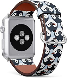 Compatible with Apple Watch 42mm & 44mm (Series 5, 4, 3, 2, 1) Leather Watch Wrist Band Strap Bracelet with Stainless Steel Clasp and Adapters (Cute Penguin Babies)
