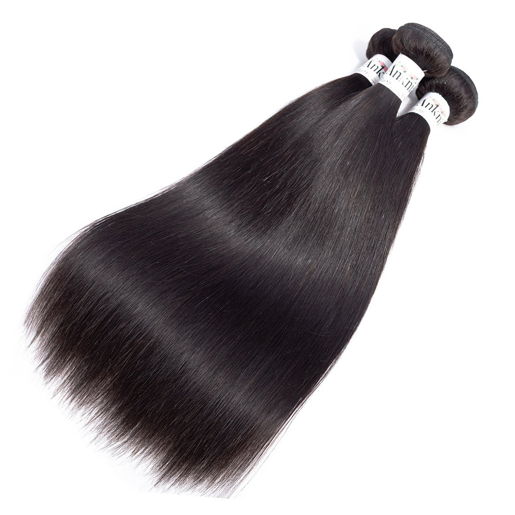 Anknia Mink Brazilian Straight Hair 3 Bundles Deals 100% Unprocessed Virgin Remy Human Hair Bundles Weave Hair Extensions Natural Color 24 26 28 Inches Total 300g by Anknia (Image #2)