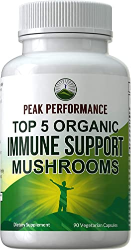 Top 5 Organic USA Grown Immune System Mushroom Capsules with Reishi, Chaga, Maitake, Shiitake, Turkey Tail Mushrooms. Naturally Harvested Vegan Mushroom Complex Supplement 90 Pills Peak Performance