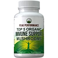 Top 5 Organic (USA Grown) Immune System Mushroom Capsules with Reishi, Chaga, Maitake, Shiitake, Turkey Tail Mushrooms. Naturally Harvested Vegan Mushroom Complex Supplement 90 Pills Peak Performance