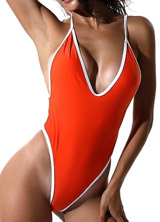 cc86c3e6476f1 FITTOO Womens Sexy Deep V Backless One Piece Monokini Bikini V-Cheeky Thong  Big Booty Swimwear: Amazon.co.uk: Clothing