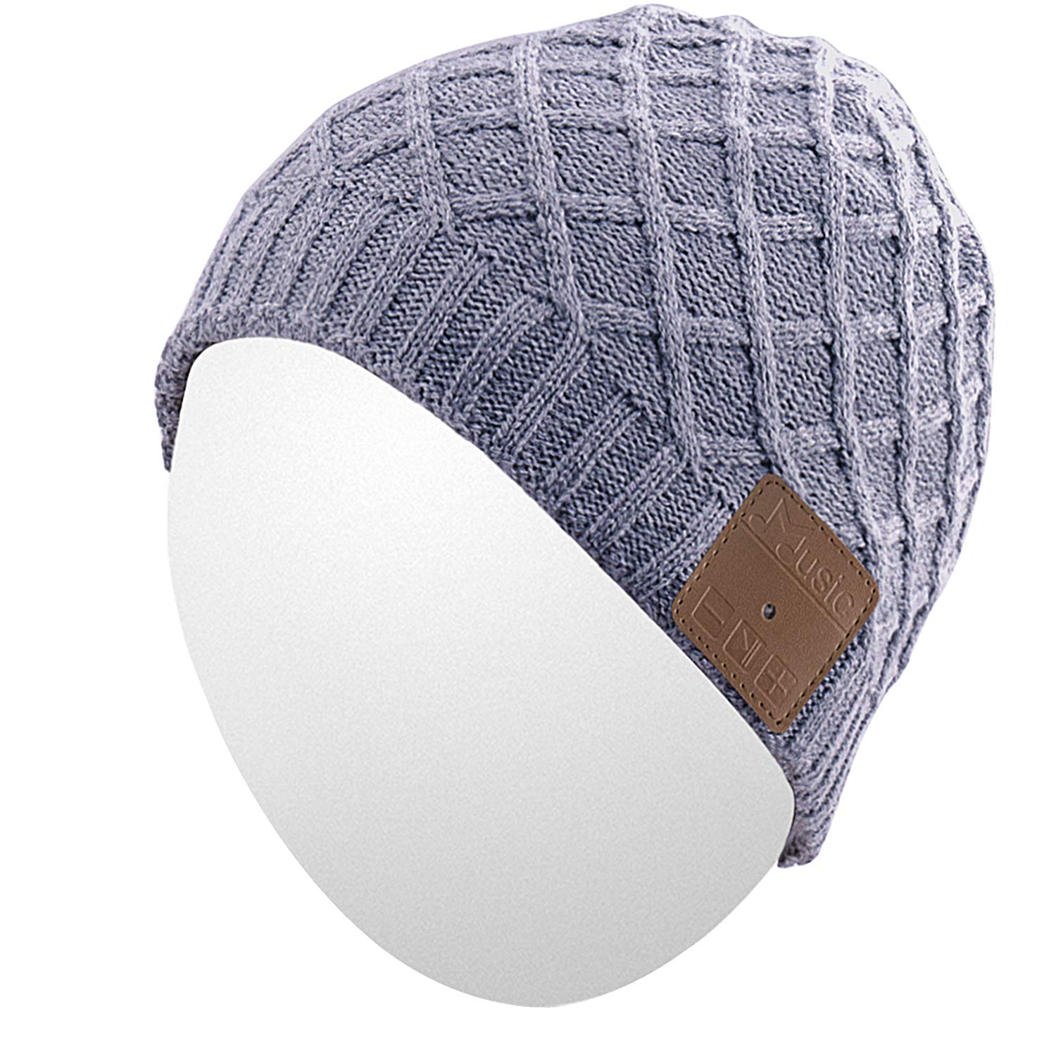 Qshell Winter Washable Bluetooth Music Beanie Warm Soft Trendy Short Striped Hat Cap with Wireless Headphone Headset Earphone Mic Hands Free for Excrise Gym Sports Fitness Running Skiing - Gray