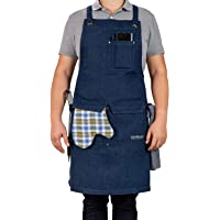 Professional Chef Kitchen Apron with Double Towel Loop – 10 oz Cotton for Cooking, BBQ and Grill – Men Women Design with…