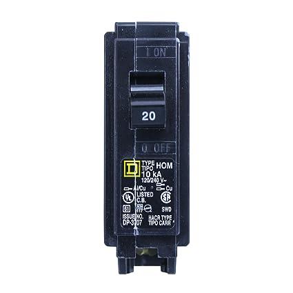 Square D HOM120 Homeline 20 Amp SinglePole Circuit Breaker ...