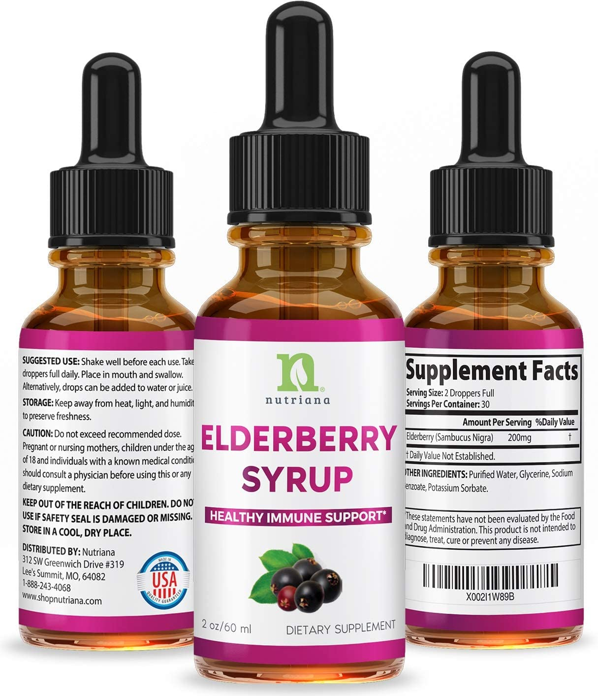 Elderberry Extract Syrup for Adults – Elderberry Extract Liquid Drops for Immune Support – Liquid Elderberry Easy Absorption – 2oz Elderberry Tincture 60ml