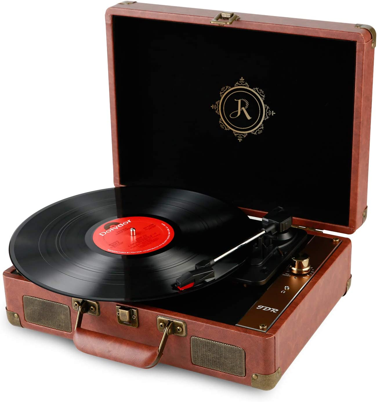 Anti-Skate Stylus for Entertainment and Home Nostalgic Decor JDR Record Player 3-Speed Bluetooth Portable Suitcase RP-1 Turntable with Built-in Speakers Convert Vinyl to Digital AUX in