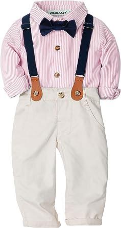 ZOEREA 2 Piezas Conjunto de Ropa de Bebé Niño Pantalones + Camisa de Rayas Pajarita Negra Conjunto de Traje de Caballero para Niños: Amazon.es: Ropa y accesorios