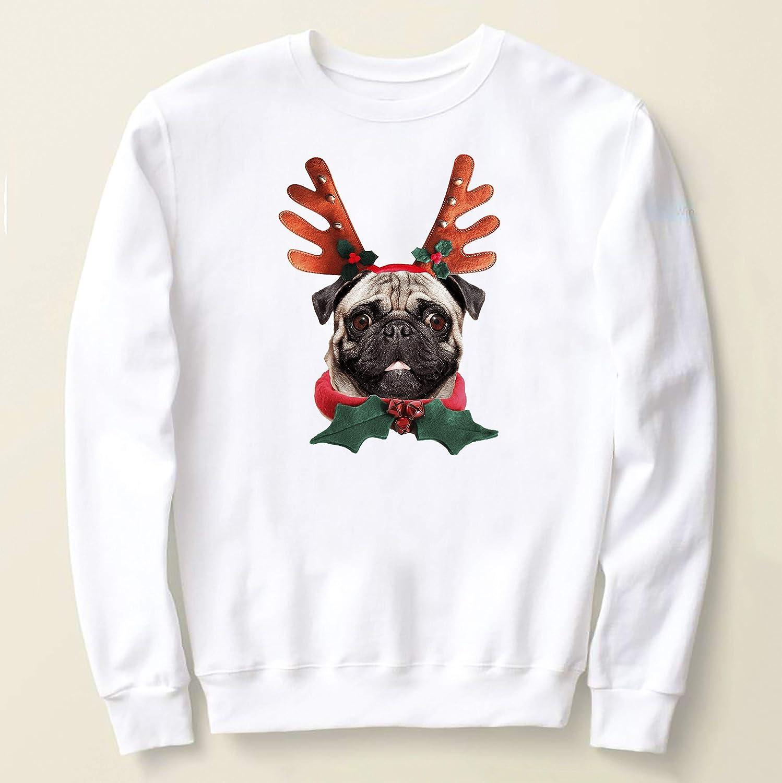 : Ugly Christmas Sweater With Pug Reindeer, For