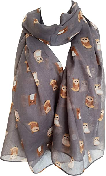 NEW WOMEN LADIES BROWN BIRD PRINTED LIGHTWEIGHT SCARF SHAWL WRAP