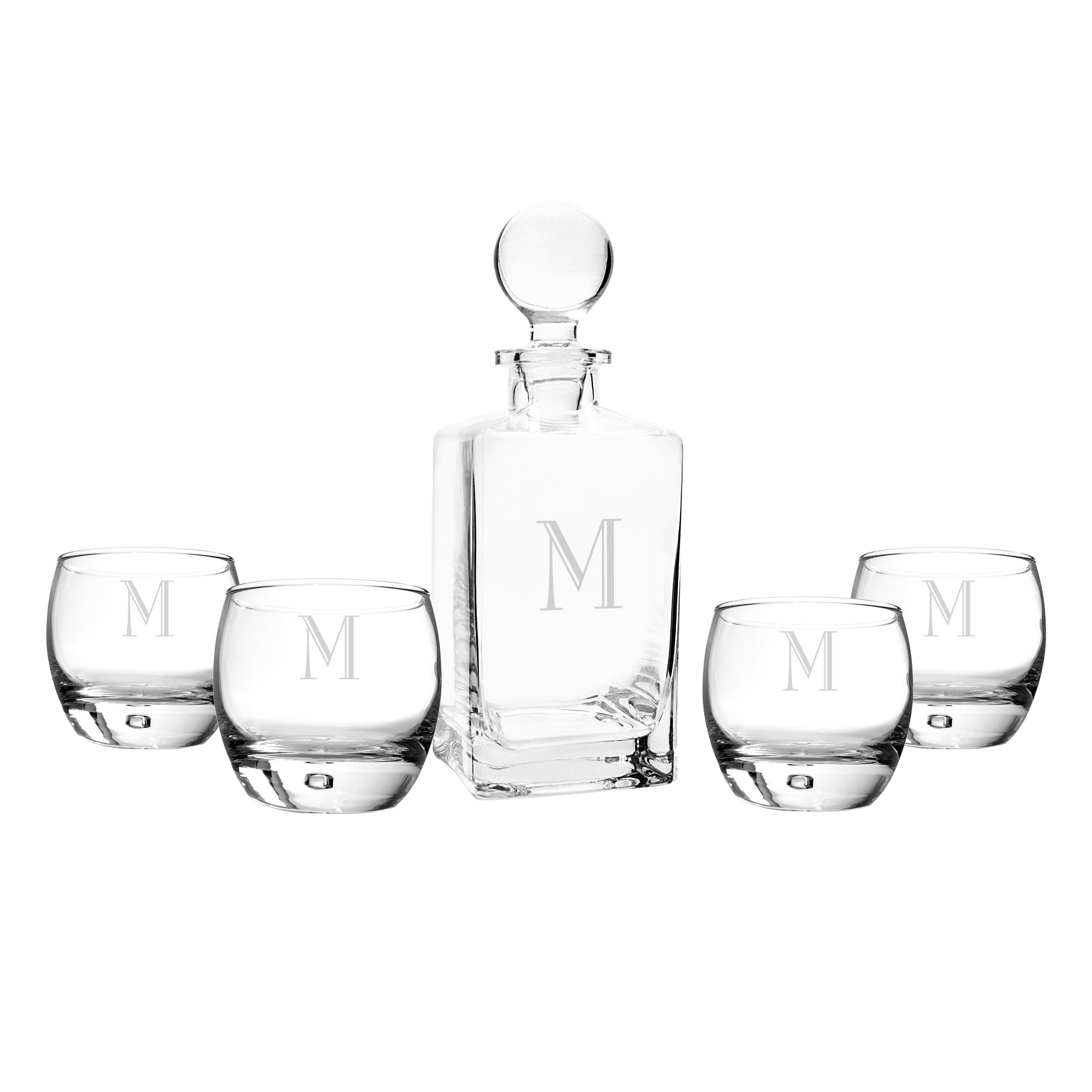 Cathy's Concepts Personalized Square Whiskey Decanter Set, Letter M