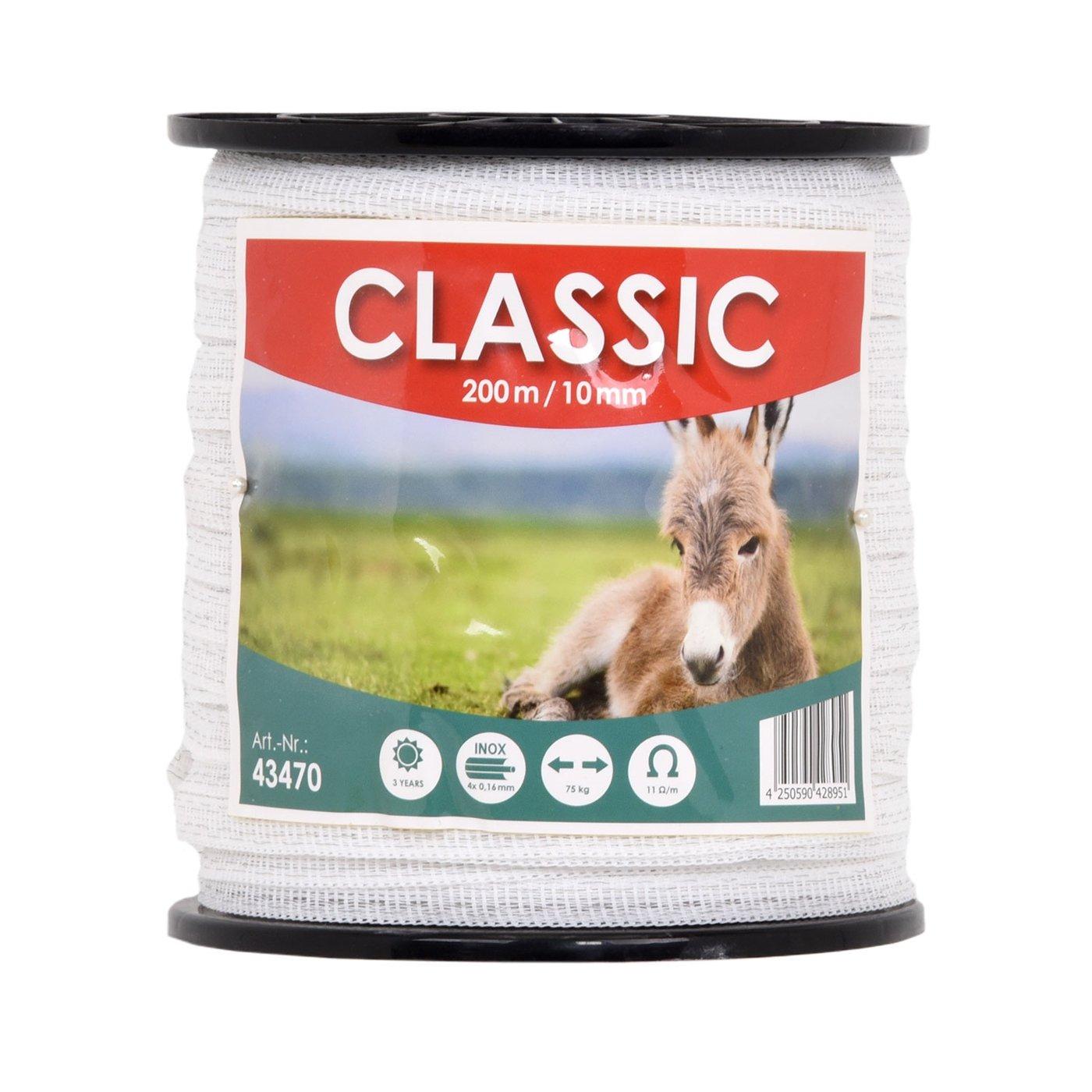 Ruban de clôture électrique CLASSIC 200 m 10 mm conducteur 4 x 0, 16 mm acier inoxydable fil câble clôture cheval chèvre mouton poney VOSS.farming