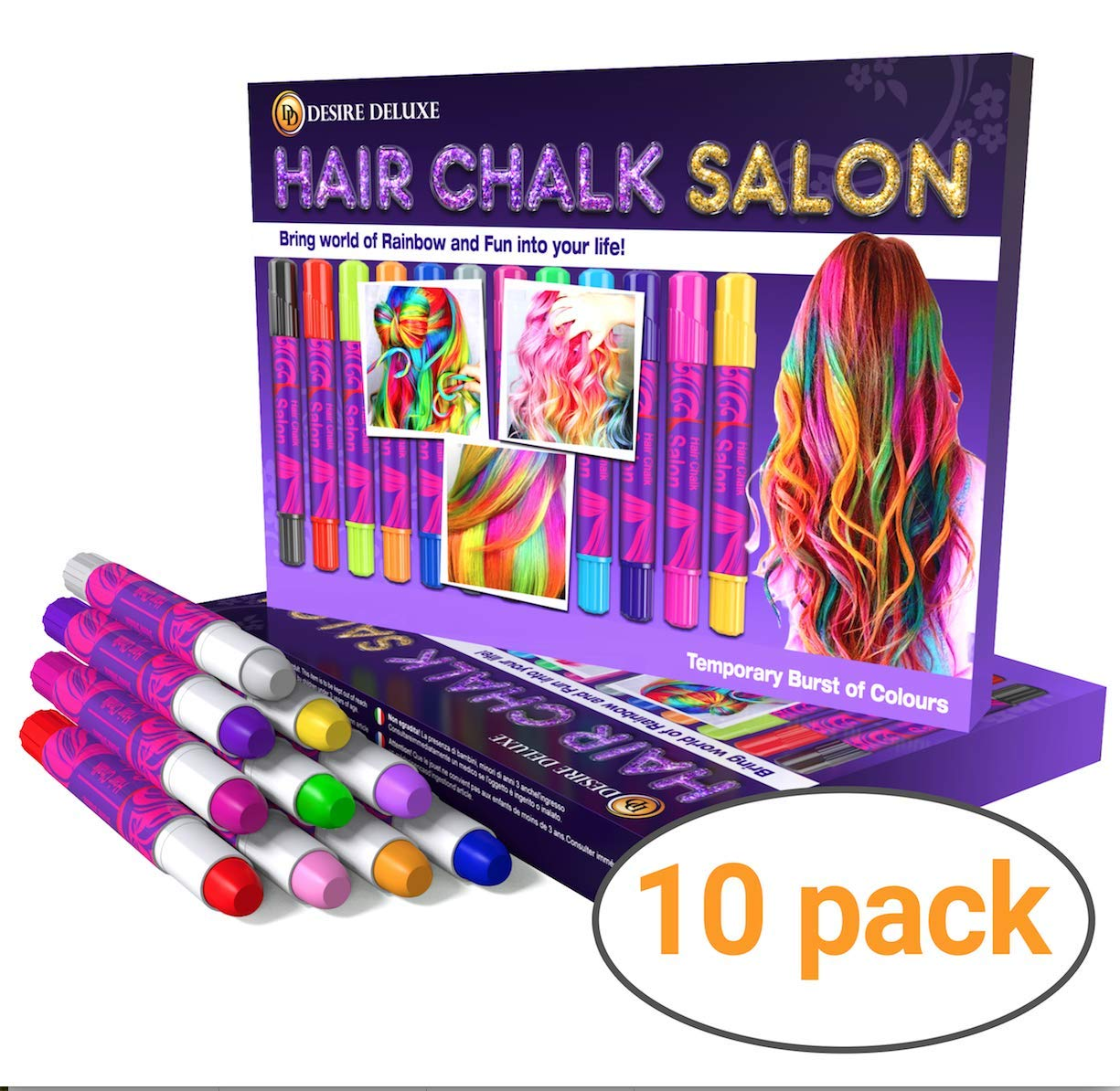Christmas Gifts For Girls Age 11.Desire Deluxe Hair Chalk For Girls Makeup Kit Of 10 Temporary Colour Pens Gifts Great Toy For Kids Age 5 6 7 8 9 10 11 12 13 Years Old