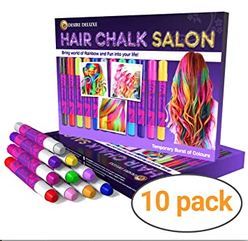 Christmas Gifts For Girls Age 9.Desire Deluxe Hair Chalk For Girls Makeup Kit Of 10 Temporary Colour Pens Gifts Great Toy For Kids Age 5 6 7 8 9 10 11 12 13 Years Old