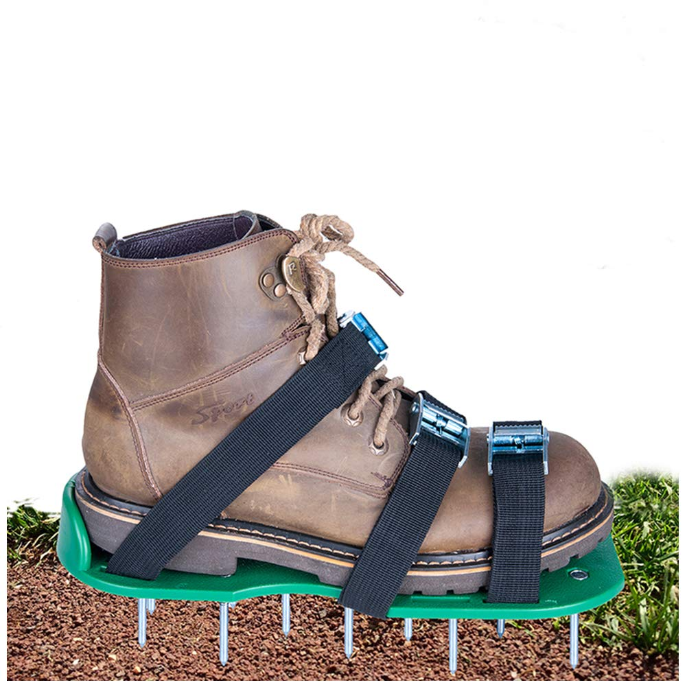 SiGuTie Lawn Aerator Shoes, Spiked Lawn Aerating Sandals Heavy Duty Garden Tool Metal Buckles 3 Adjustable Straps Universal Size Aerating Garden Yard, Extra Wrench Instructions