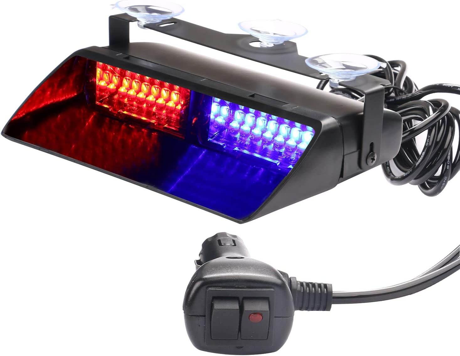 ASPL 12V 16 LED High Intensity LED Law Enforcement Emergency Hazard Warning Strobe Lights for Interior Roof/Dash/Windshield with Suction Cups (Red/Blue)