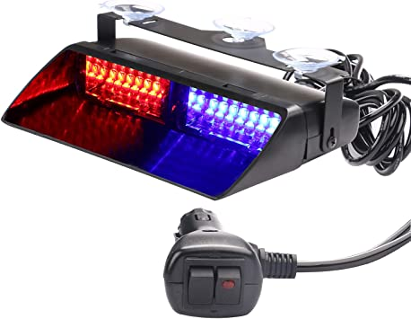 New Red Blue 12V 48W 16LED Lights Car Emergency Warning Flash Strobe Lamp Bulbs