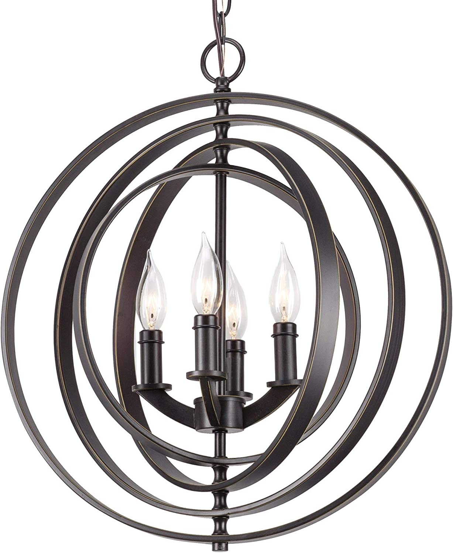 Kira Home Orbits 18 4-Light Modern Farmhouse Orb Globe Pendant Chandelier Pivoting Interlocking Rings, Adjustable Height, Hand Painted Trim Antique Bronze Finish