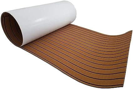 240x90cm Teak EVA Schaum Yacht Bodenbelag Matte Deck Teppich Selbstklebend Braun