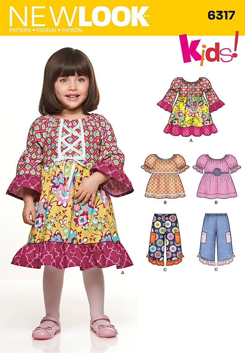 Simplicity New Look Kids Pattern 6317 Toddler Dress, Tops and Short Pants Sizes 1/2-1-2-3-4