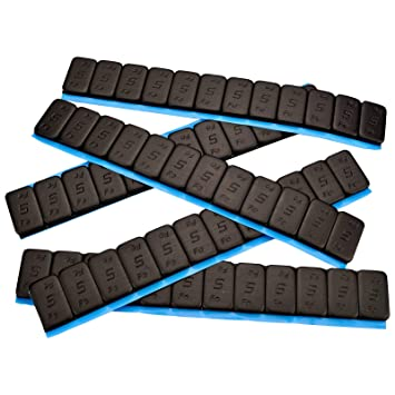 25 Contrapesos NEGRO 12x5g Pesos adhesivos Pesos de acero Tira adhesiva 60g mit BORDE DE CORTE