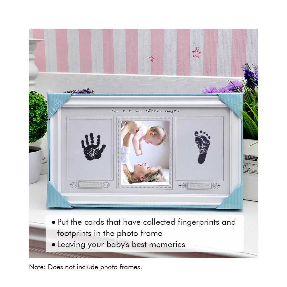 Locisne 3Pack Handprint and Footprint Ink Pads without Ink-Touch,Safe Print Kit for Baby and Pets 3 Large Ink Pads 6 Imprint Cards