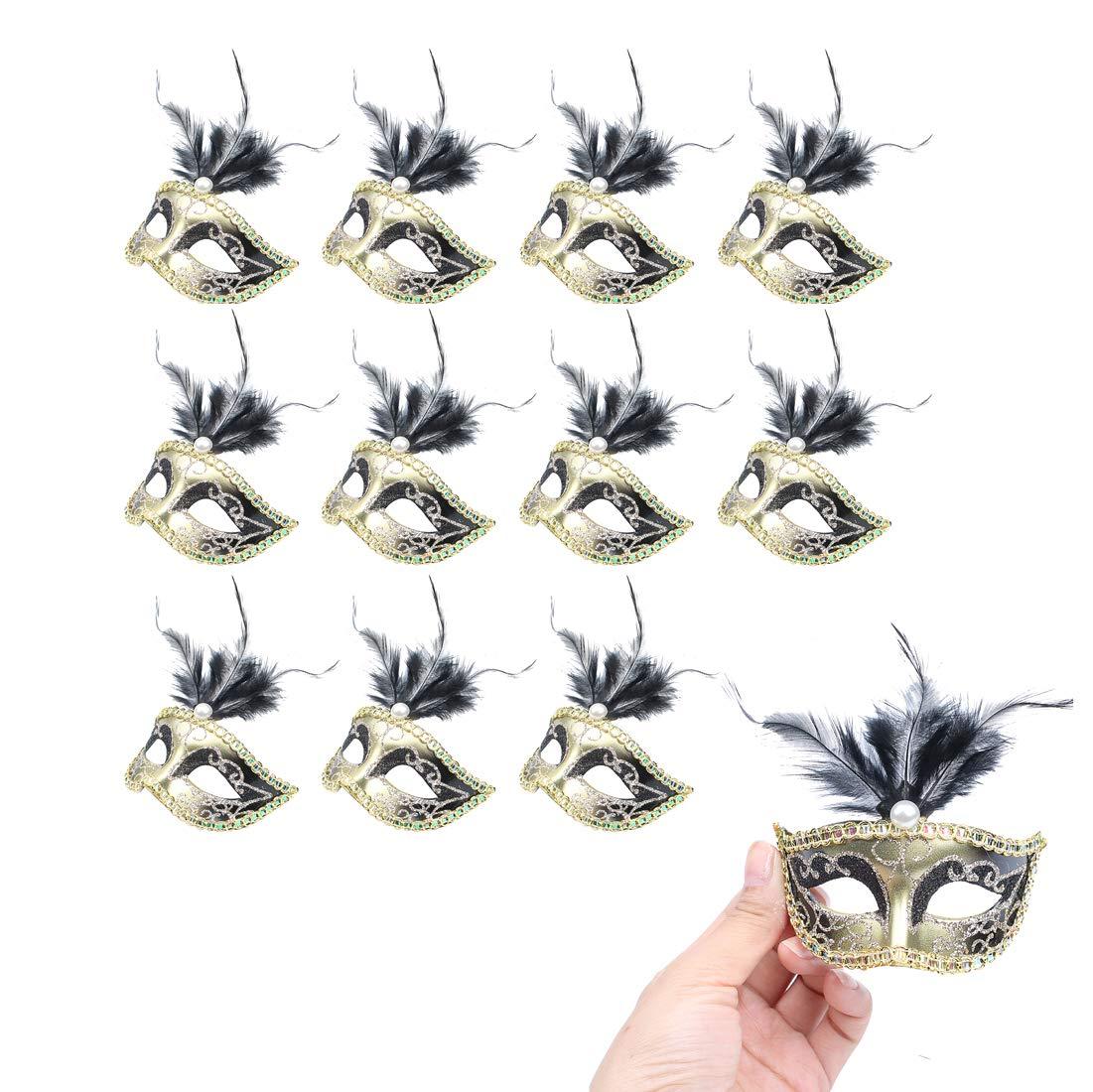 Hophen 24 Pieces Decorative Mini Masquerade Mask Party Decorations Luxury Feather Mardi Gras Venetian Mask Party Favors (Black)