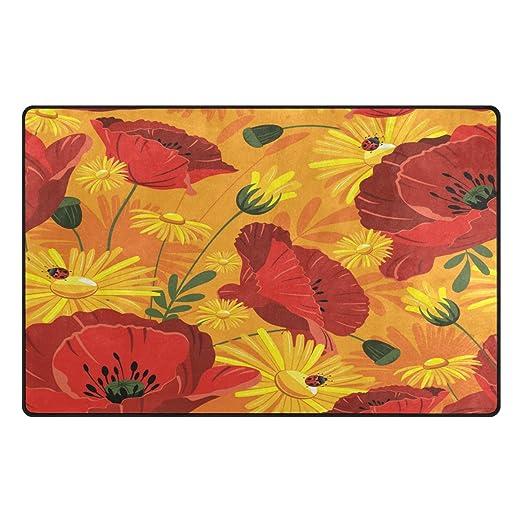 Florencia rojo y amarillo Poppy flores con mariquita alfombrilla ...