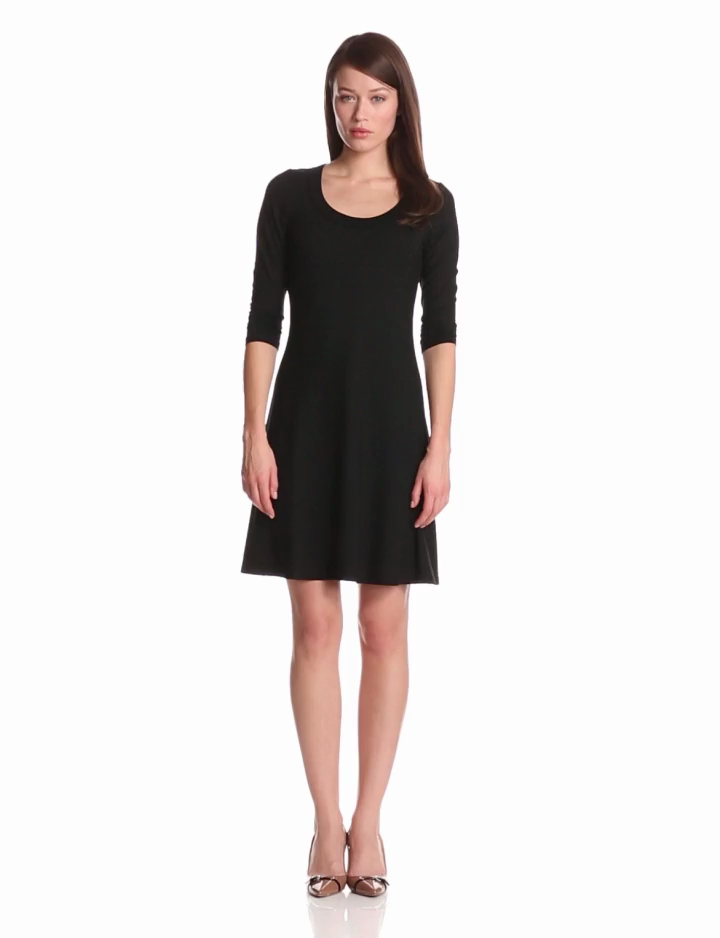 Black A Line Dress With Sleeves | Ejn Dress