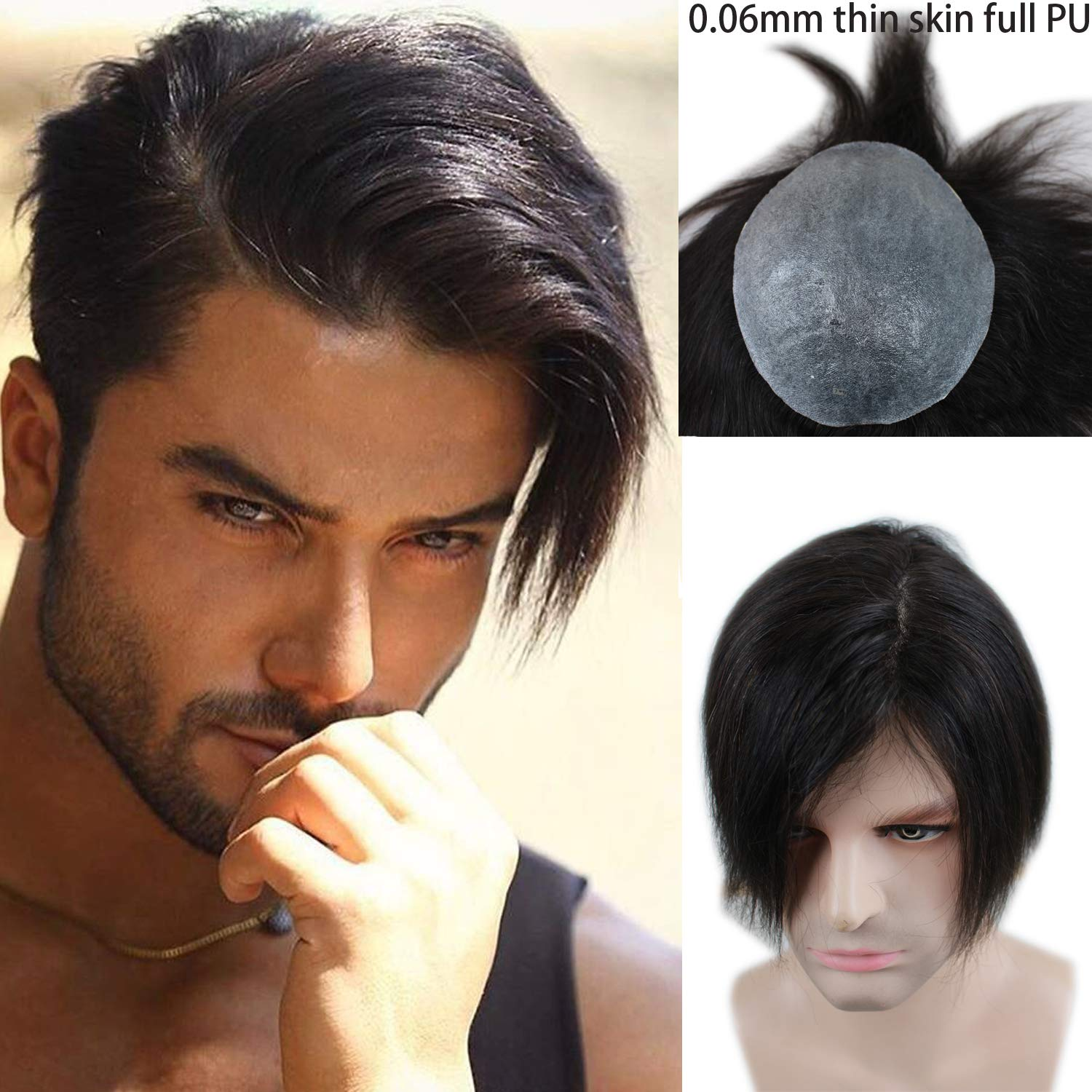 Rossy&Nancy European Virgin human Hairpiece for Men's Toupee Ultra Transparent Thin Skin PU Replacement Hair Pieces 10''x8'' Base Size Natural Black Color by Rossy&Nancy