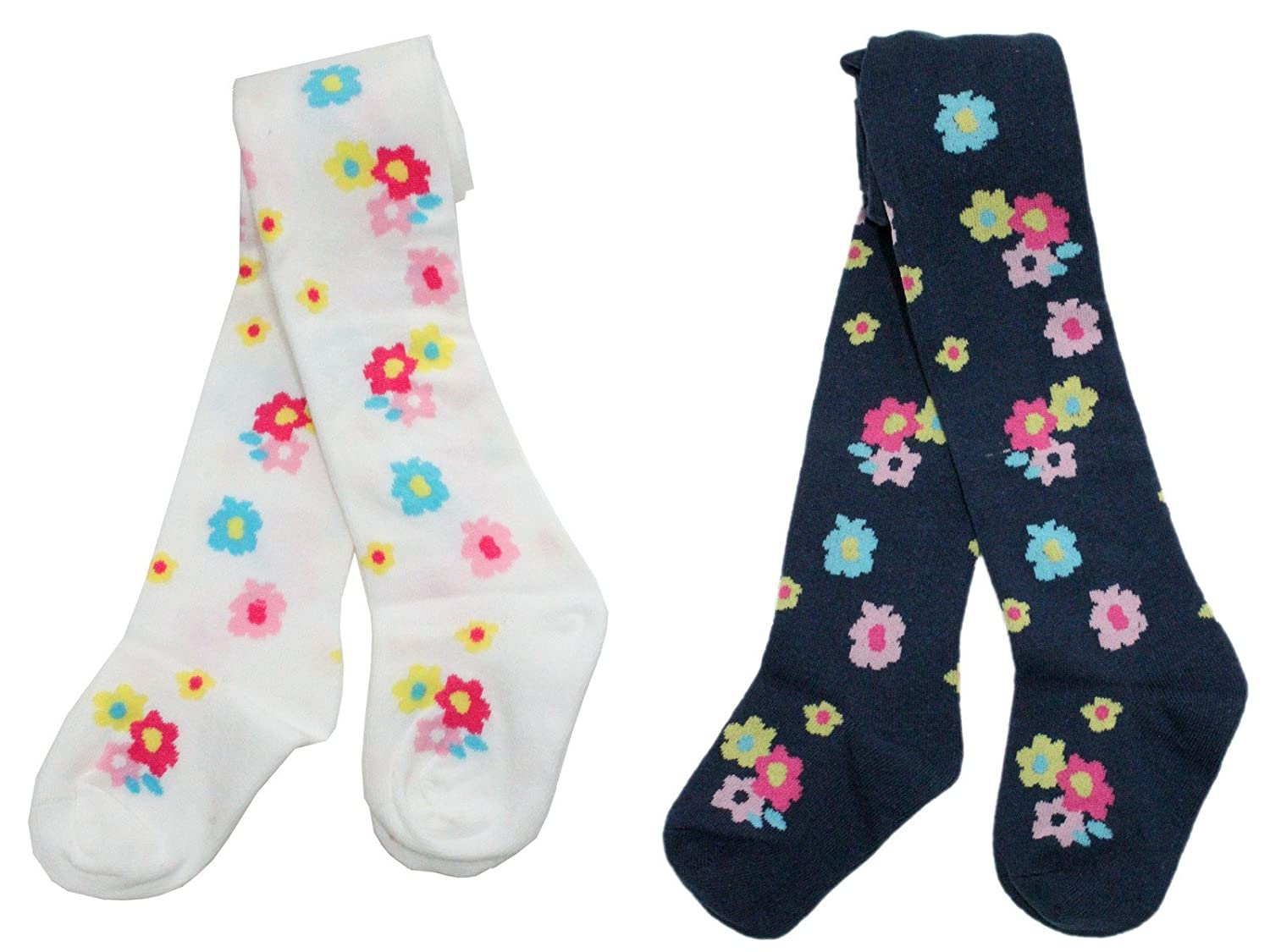 Colourful Baby World Little Girls' Flower Cotton Rich Tights (Twin Pack