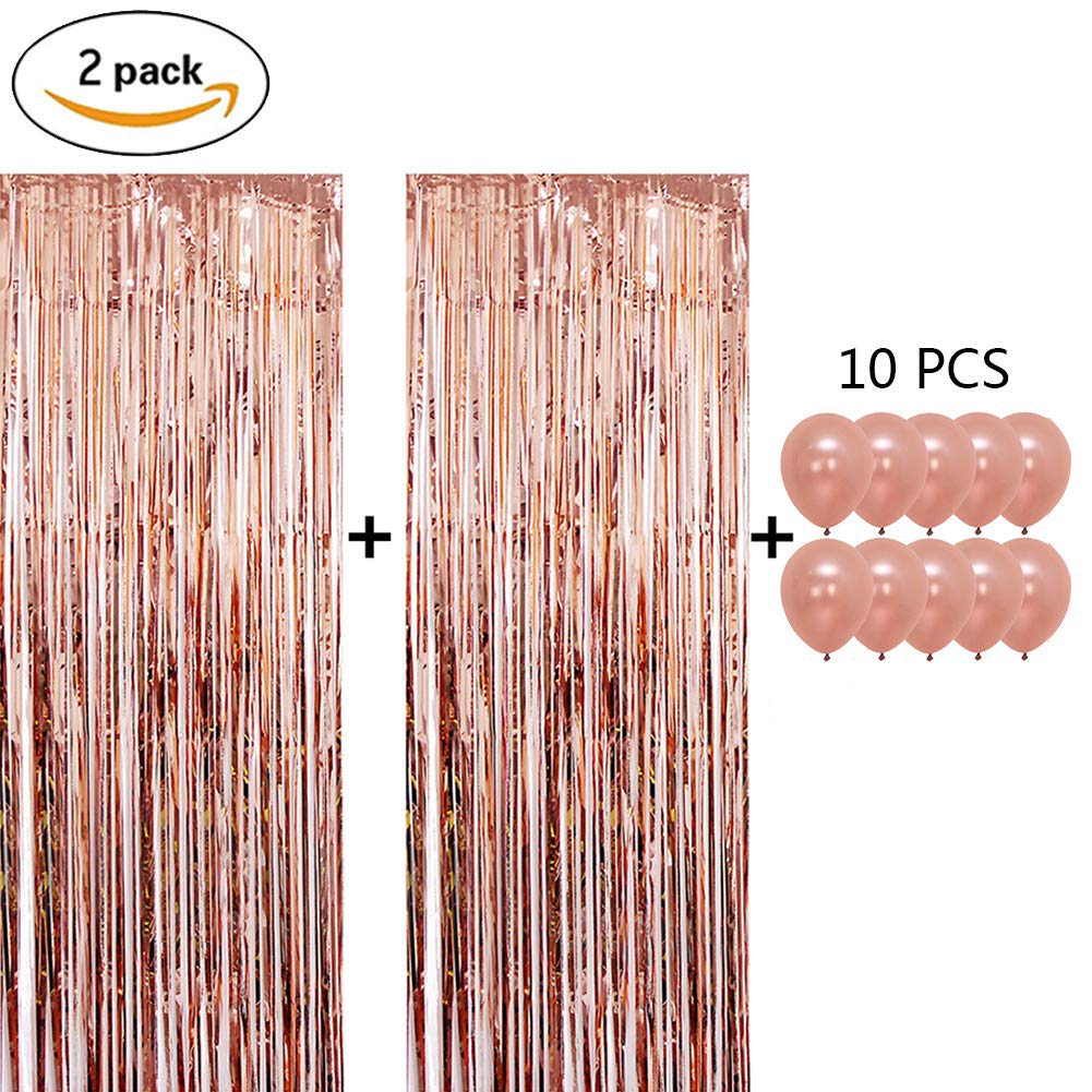 Metallic Tinsel Foil Fringe Curtains Door & Window Curtain Party Decorations for Christmas, New Year, Birthday, Photo or Live Backdrop, Wedding Decor 3 ft x 8 ft 2 Pack with Free 10pcs Balloons