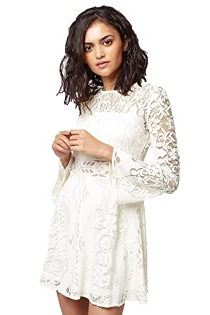 b0a44611829 Womens   Ladies NEW TOPSHOP Cream PETITE Summer Party Fluted Sleeve Lace  Mini Skater Dress Size