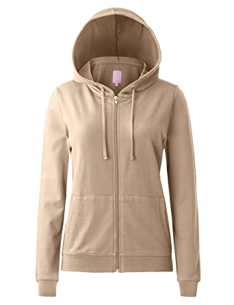 7bafb586d8793a Regna X Women s Long Sleeve Pockets Pullover Full Zip Hooded Sweatshirt  Beige S