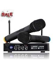 LESHP S9-UHF - Microfono senza fili Bluetooth 4.1, professionale, portatile, con 2microfoni karaoke per karaoke, festa, conferenza, spettacolo, bar, riunione, studio