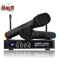 Karaoke Micro sans fil Bluetooth 4.1, LESHP S9-UHF Micros karaoké Professionnel avec 2 Microphones à Main pour Chanter, Fête, Conférence, Spectacle, Bar, Réunion, Studio