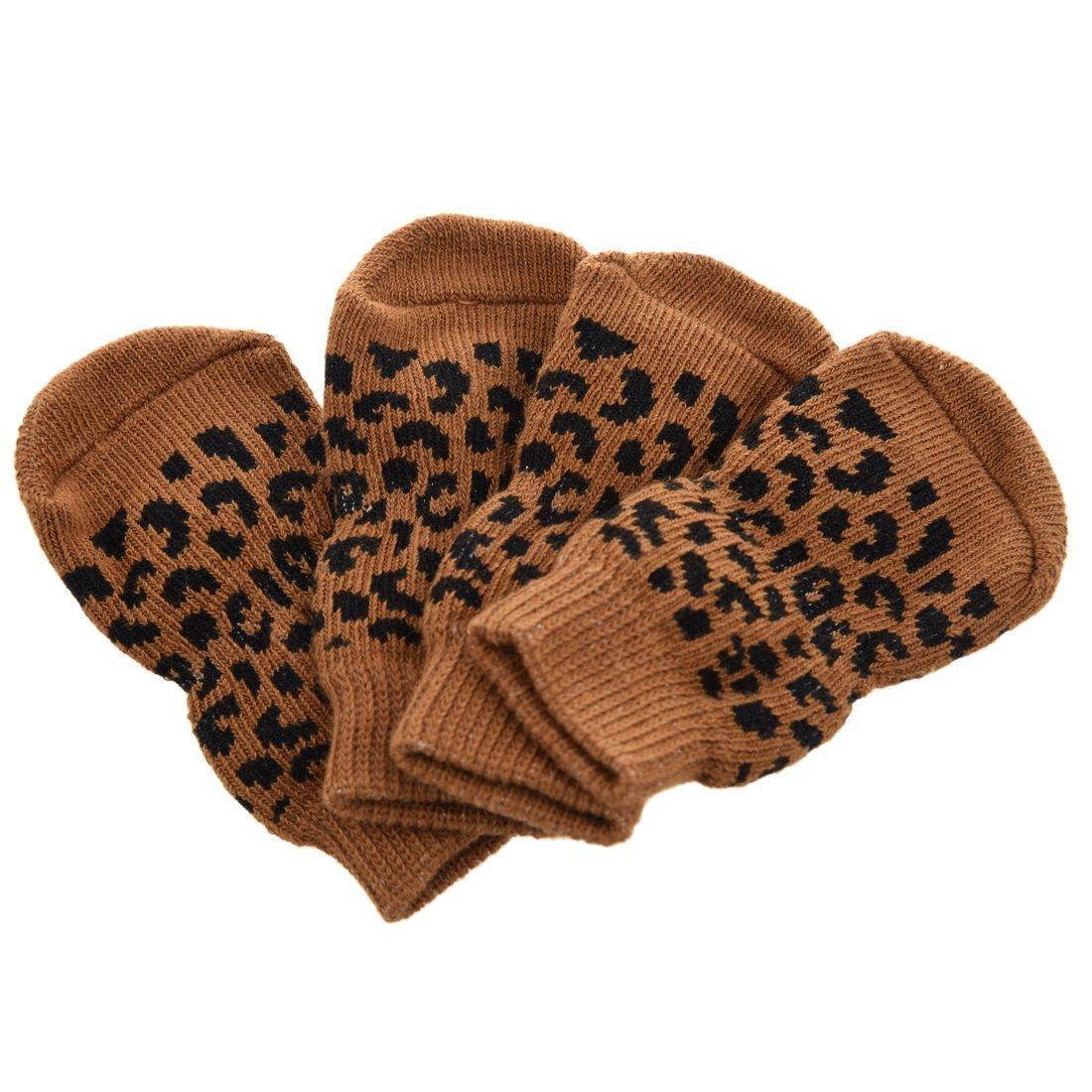 TOOGOO Chaussettes leopard anti-derapant pour les animaux domestiques Chaussettes de protection pour les chiens et les chats - XS SHOMAT11385