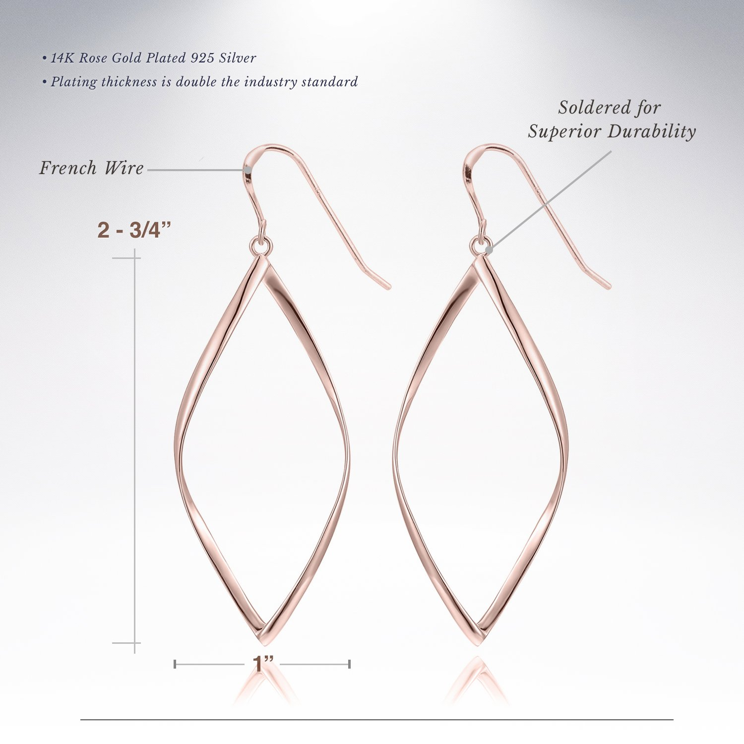 696ed5c86 Amazon.com: 14K Rose Gold Plated Infinity Sterling Silver Post Hoop Earrings  for Women: Jewelry