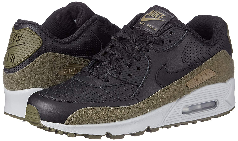 Nike Air Max 90 Hal Premium Leather Running Shoe, BlackBlack Medium Olive, 11