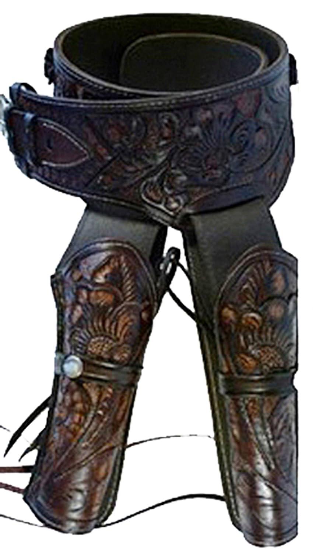 Modestone Western Leather Double Holster Gun カウボーイベルト Rig 44/45 Revolver 34 B074T5W1H1 86 cm/34''|Brown Brown 86 cm/34''