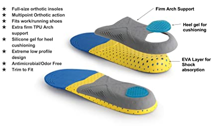 new arrivals 81895 4aa88 Amazon.com Feet Ninja Ortho FF 8000 Flat Foot and Low Arch Triple Layer  Supportive Orthotic shoe Insole with Heel Protection for Men and Women ...