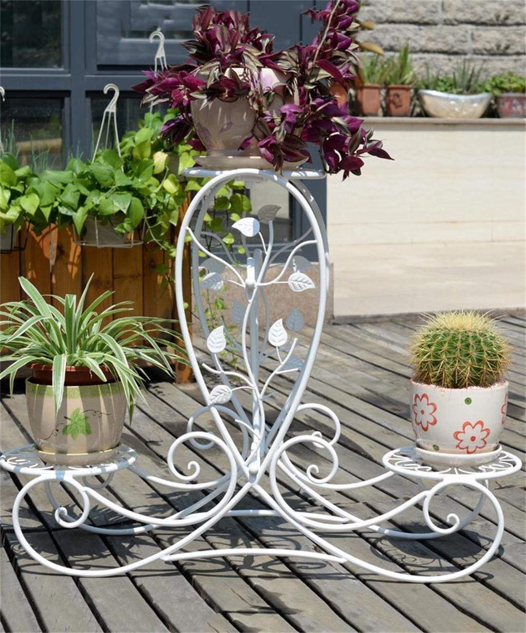 XYZ Europäische - Stil Kreative Retro - Eisen 3 - Tier Boden Flower Pot Regal, Pflanzen stehen, Chlorophytum Blume Rack für Balkon, Wohnzimmer, Indoor Empfindlich haltbar ( farbe : Weiß )