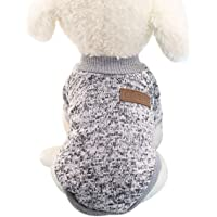 Elisona-Dog Sweater,Pet Dog Winter Warm Dogs Clothes,Pet Clothing For Small Dogs,Small Dog Sweater (Size S Grey)