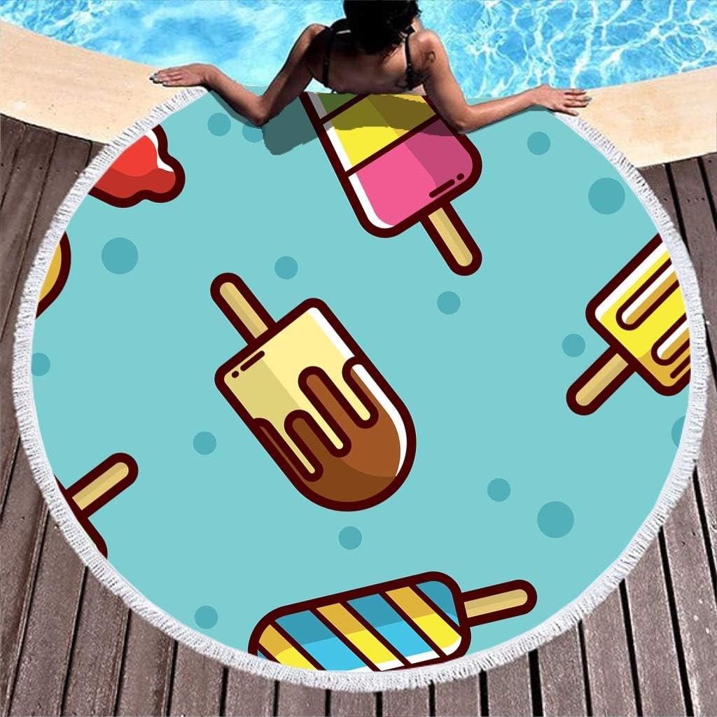 Shinelly EIS - Toalla de Playa, Esterilla de Yoga, Mandala India, Redonda, algodón, Mantel, Toalla de Playa, Esterilla de Yoga Redonda, Bufanda, 59 en la Playa, Tiempo Libre, Azul Claro, 150 cm: