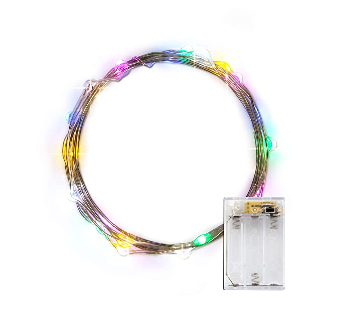 LIDORE Micro LED 20 guirnalda de luces LED con temporizador, funciona con pilas en 7.87 Ft largo color de plata Ultra delgada cadena alambre: Amazon.es: ...