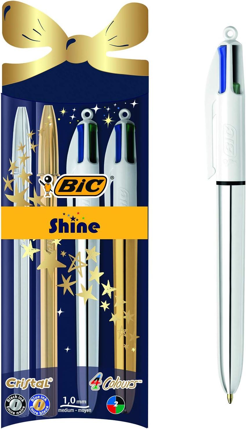 BIC Cristal Shine y BIC 4 colores Shine bolígrafos Navidad bolígrafos de punta media (1,0 mm) - colores Surtidos, Paquete de 4