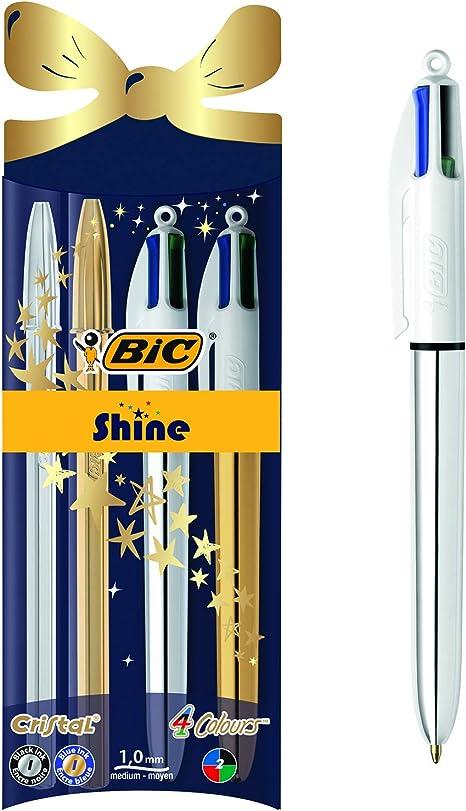 BIC Cristal Xmas Shine y BIC 4 colores Shine bolígrafos Navidad bolígrafos de punta media (1,0 mm) - colores Surtidos, Paquete de 4: Amazon.es: Oficina y papelería