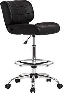 SD STUDIO DESIGNS Modern Black Crest Drafting Chair